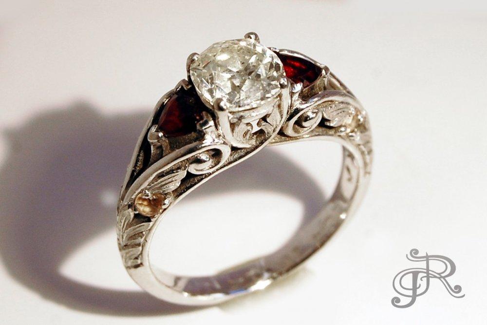 Rose-cut Diamond and Garnet