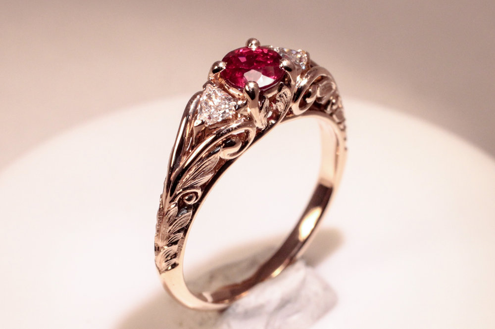 14k Rose Gold, Ruby, and Diamond