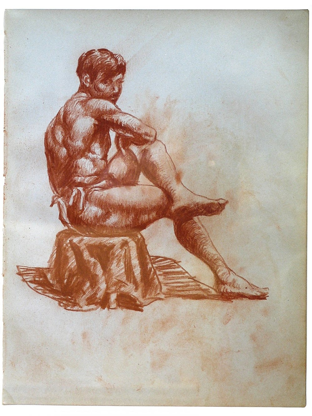 "Sketchbook Drawing:   Seated Man  1915-16, red conte crayon on paper 10 ¼ x 7 ¾"", framed Nakian Family 60.10-001"