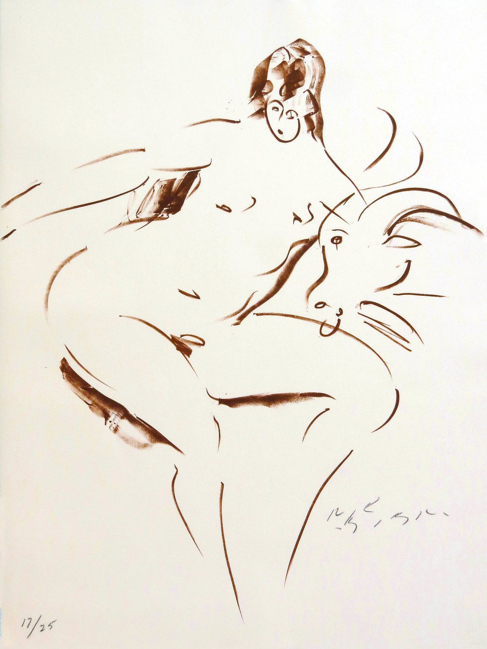 "Sitting Nymph, from Land of the Gods Suite     1980, lithograph, printed in sanguine ink on buff Arches paper in an edition of 25 22.5 x 30"" Nakian Estate F-706146"