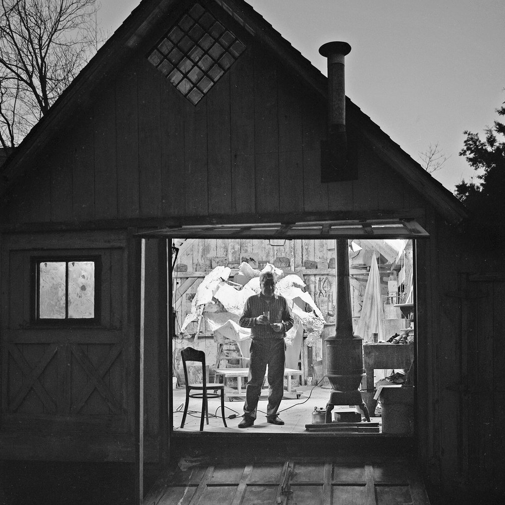 "Nakian at the ""Pony Shed"", Stamford, CT, 1962 ©Thor Bostrom"