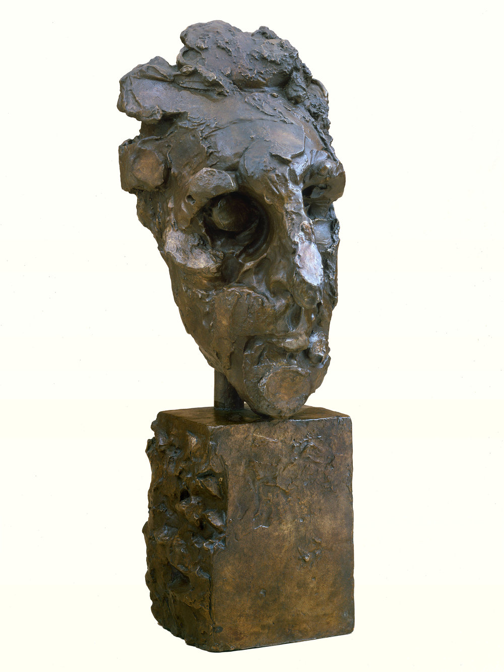 "Portrait Head of Marcel   Duchamp     1943, bronze 22 x 8 ½ x 10"" Hirshhorn Museum, Smithsonian Institution, Washington, DC; Honolulu Academy of Arts, Honolulu, HA; Delaware Art Museum, Wilmington, DE; Philadelphia Museum of Art, PA; private collections 30.002"