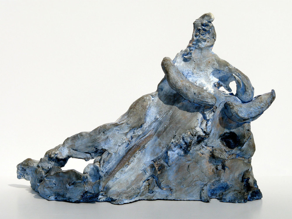 "Voyage to Crete   c.1960, terra cotta, with blue patina 9 ¾ x 14 x 5"" Nakian Family 30.137"