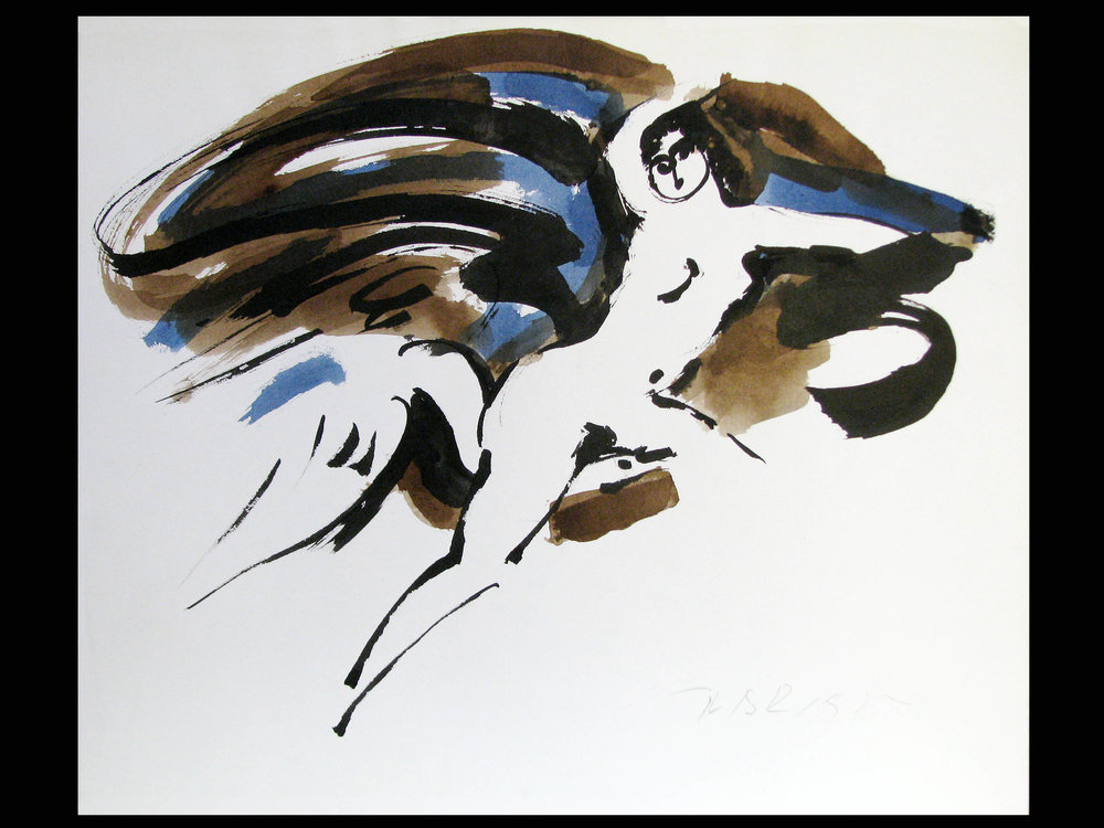 "Leda and the   Swan  c.1975, black ink with blue and brown wash on paper 14 x 16 ¾"" Nakian Estate 60.70-122"