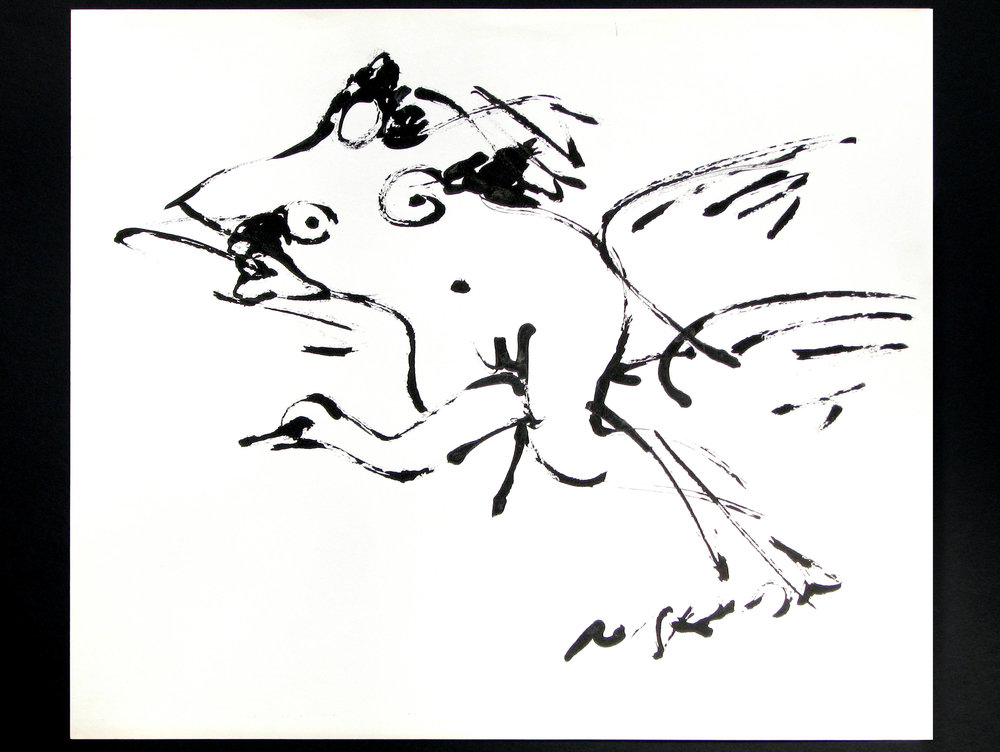 "Leda and the Swan  1963-64, black ink on paper 18 1/8 x 16 ½"" Nakian Estate 60.60-101"