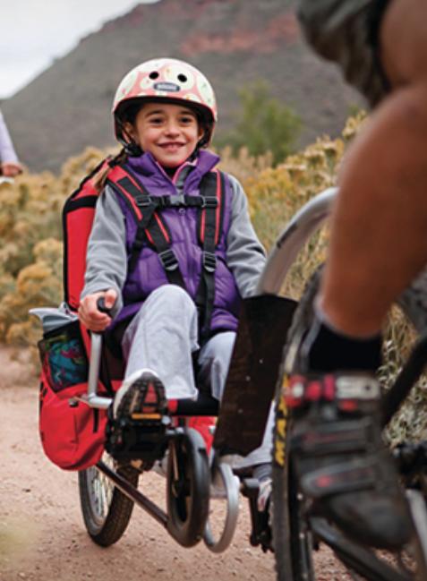 Weehoo® Trailer Bike on single track.