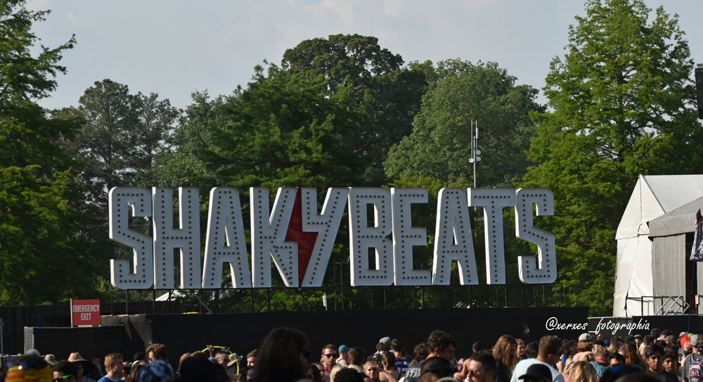 The Shaky Beats sign at Shaky Beats Music Festival 2018 in Atlanta, Georgia.
