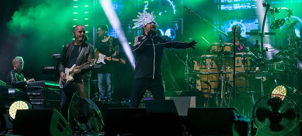 Jamiroquai performing live at the 02 in London in 2017.