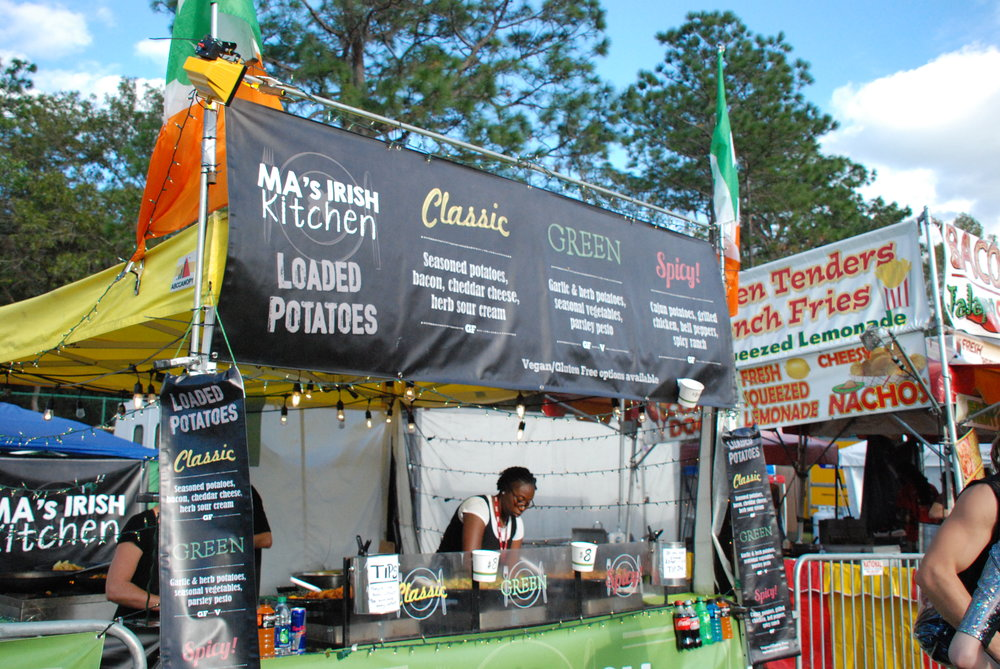 Ma's Irish Kitchen at Suwannee Hulaween 2018 in front of the Meadow Stage.