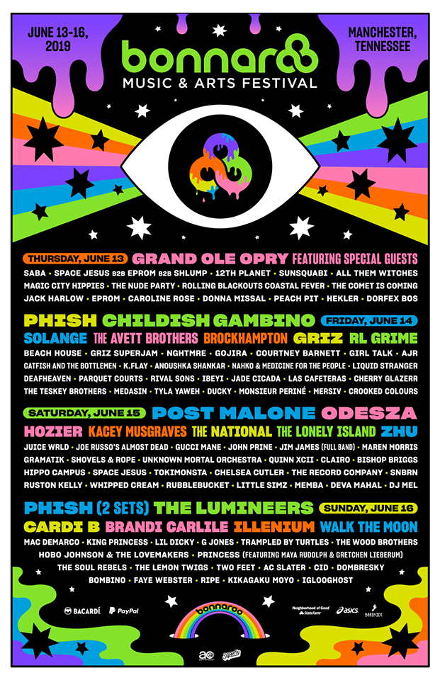 Bonnaroo 2019 Official Lineup Poster