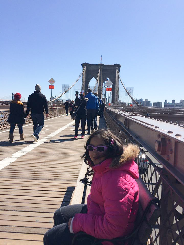 Pretty girl on the bridge.