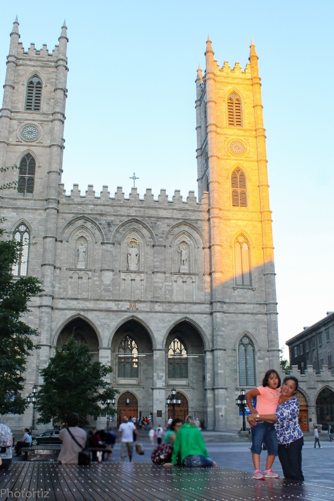 In front of the Canadian Notre Dame Basilica