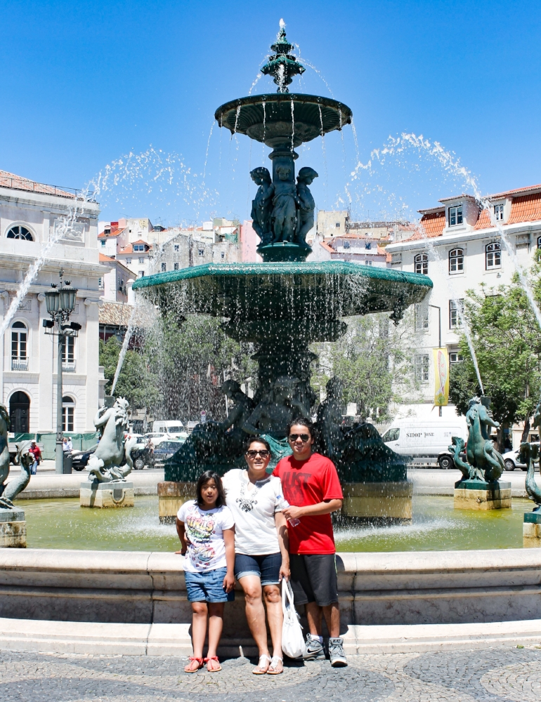 One of the fountains at the Rossio Square