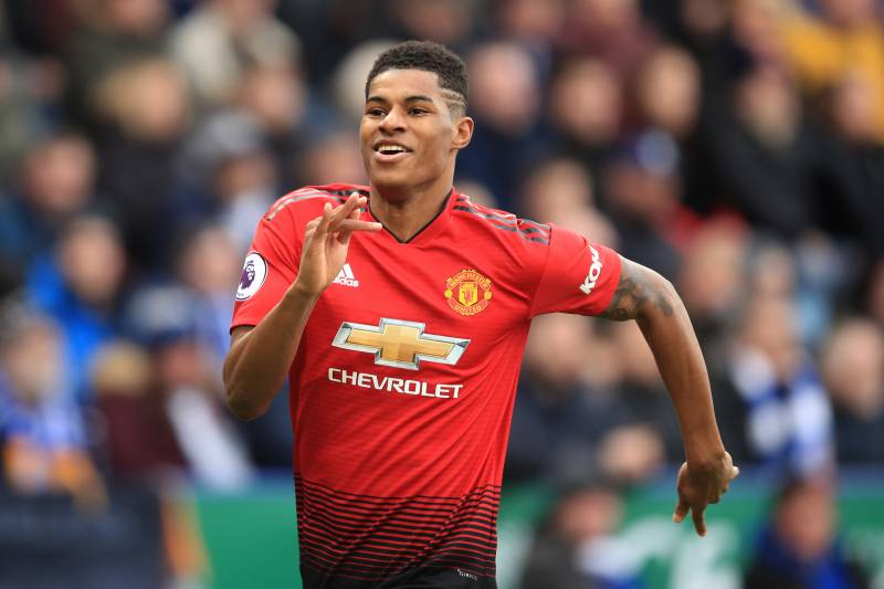 Rashford celebrates after scoring the decisive goal in a 1-0 victory against Leicester.