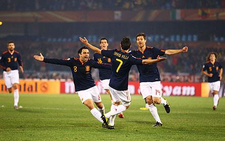 Villa celebrates his 50 yard strike against Chile.