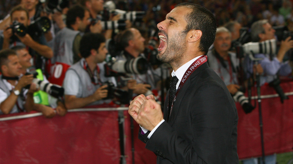 Guardiola celebrates the Champions League victory in Rome, 2009.