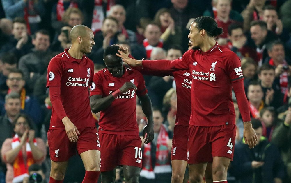 Liverpool celebrate their 5-0 win against Watford.