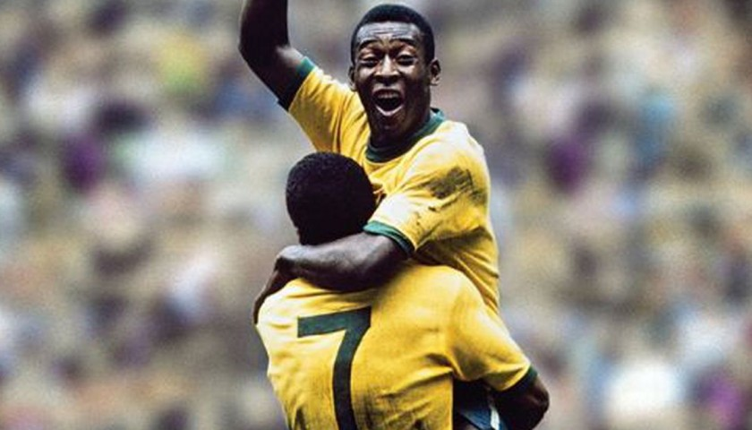 Pele Celebrates the Opening Goal of the Final against Italy