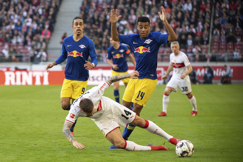 Tyler Adams playing for his new club RB Leipzig.