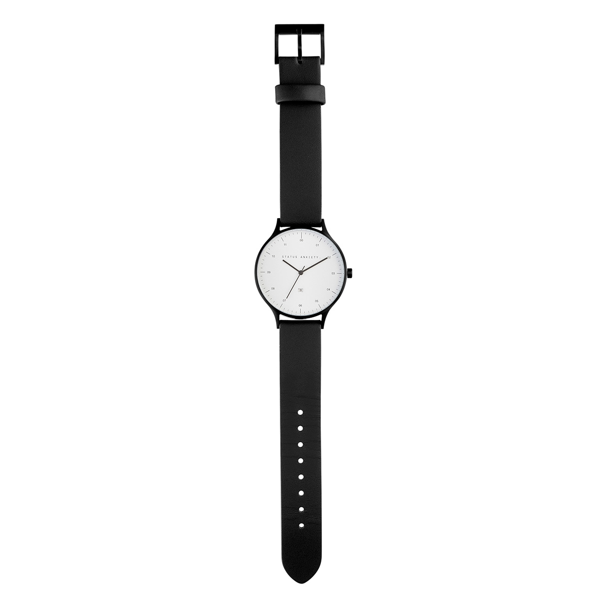 12de53857 Status Anxiety Inertia Watch- Matte Black/White Face/ Black Strap ...