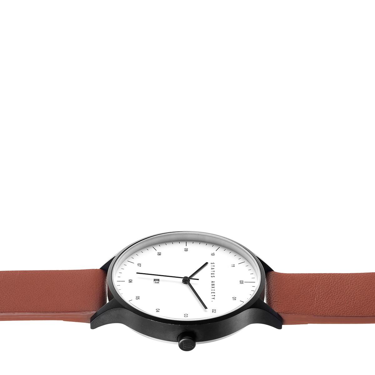 813b1df9c Status Anxiety Inertia Watch- Matte Black/White Face/Tan Strap ...