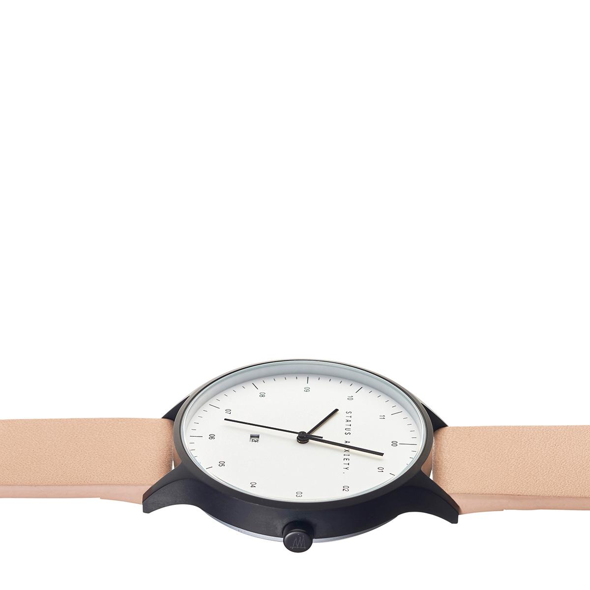 4074233ac Status Anxiety Inertia Watch- Matte Black/White Face/ Natural Strap ...