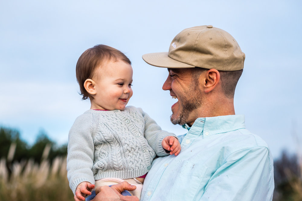 portrait of dad and one year old baby looking into each other's faces {Alameda Family Photographer}