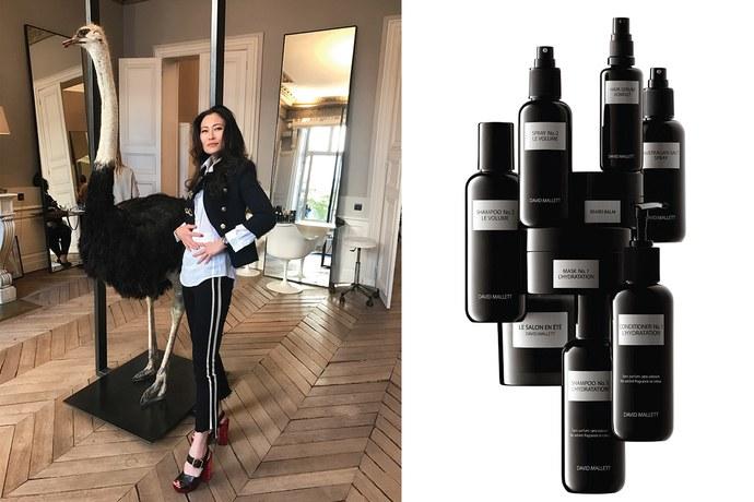 Left: Then,  Vanity Fair 's beauty director visits David Mallett's Paris salon. Photo by SunHee Grinnell. Right: David Mallett hair products. Photo courtesy of David Mallett salon.