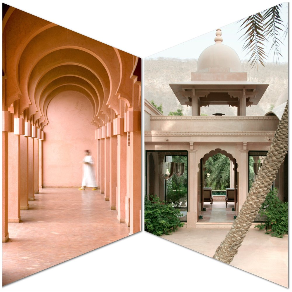 Caption: Left, Arched Corridor in Amanjena, Marrakech; right, Pool Pavilion Entrance in Amanbagh, India