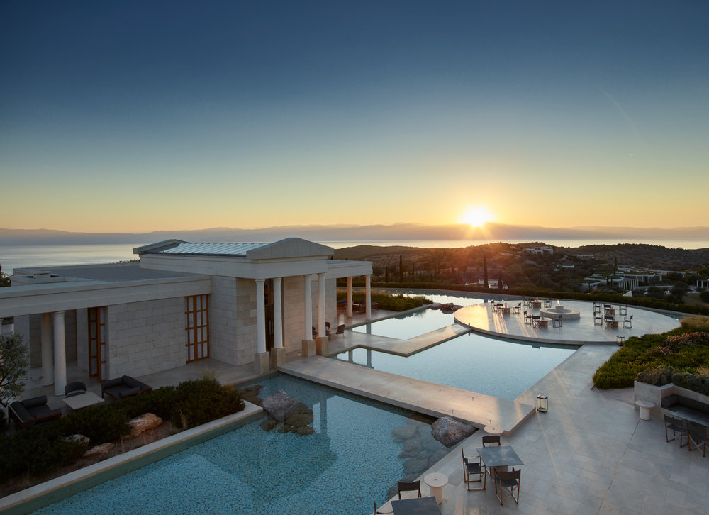 Caption: Main Pavilion entrance at Amanzoe, Greece.