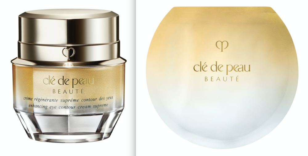 Left, Clé de Peau Enhancing Eye Contour Cream Supreme; Vitality-Enhancing Eye Mask Supreme.