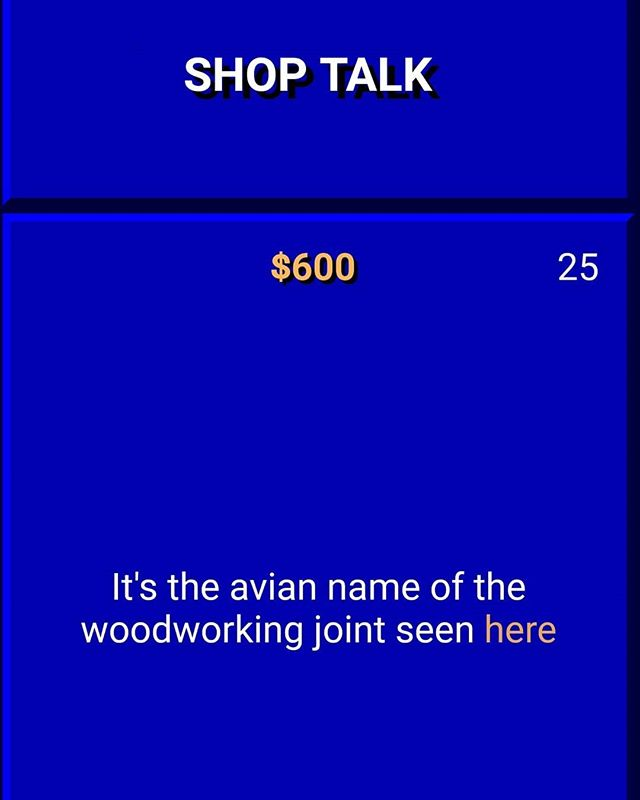 Any #Jeopardy fans catch the recent episode with a question related to woodworking? I'm horrible at jeopardy but was excited to get this one 😀 What is #dovetail #mrtrebek 🤓 . . . . #diy #diys #diyideas #diyproject #doityourself #makeityourself #makeityourown #makerlife #makestuff #makersgonnamake #buildsomething #homemade #handcrafted #crafts #wood #woodworker #woodcraft #woodworking #woodworkingcommunity #jeopardyquestion #alextrebek