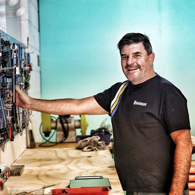 "Eddie,bike mechanic based down on the beach next to @fishbikenapier. Right on the  @hawkesbaytrails #lovethebike #qualitybikemechanic ""genuine love of the machine "" #bicyclerepair #openforbusiness 021572533"