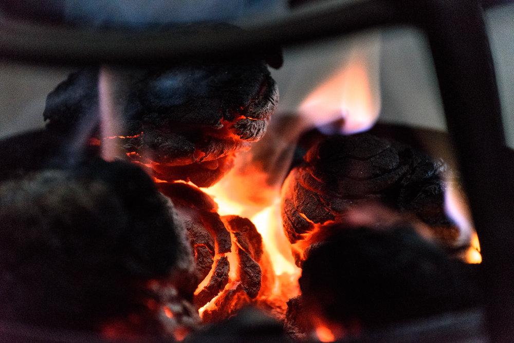 A yak-dung cook fire