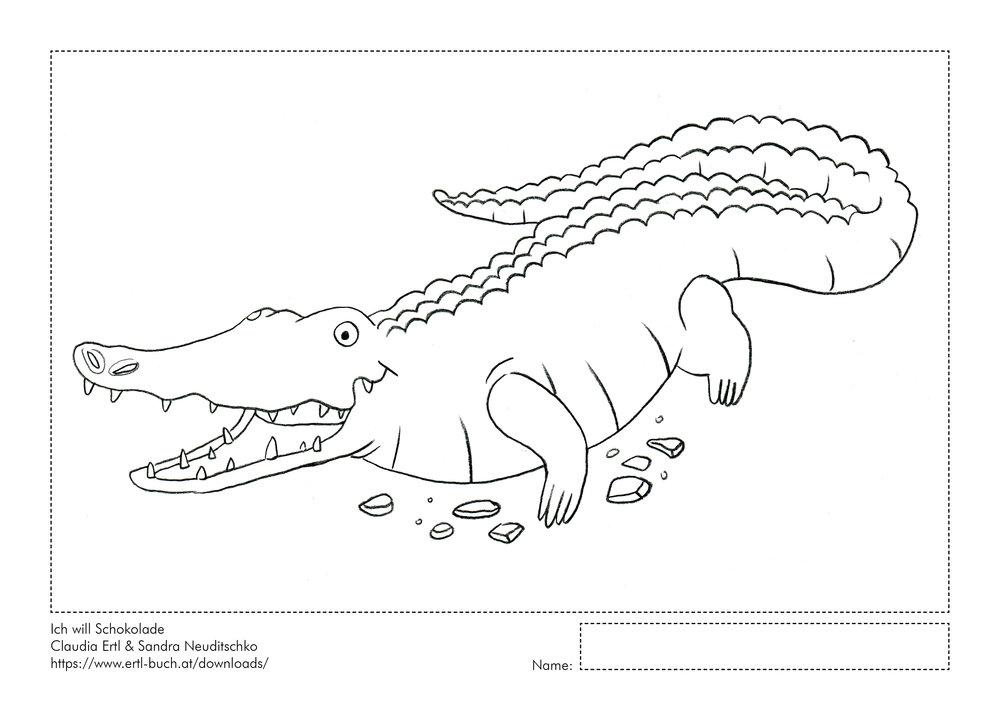 Download Ausmalbild Krokodil