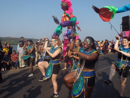 Destination Carnival , Brouhaha International (2016/2017)   This international collaboration took place over 18 months 2016-17 and involved artists from UK, South Africa and India. It was produced by  Brouhaha International . We performed the work at Cape Town Carnival 2016/2017, Liverpool Carnival 2016, Edinburgh Carnival 2016 and Goa Carnival 2016. More info  here.