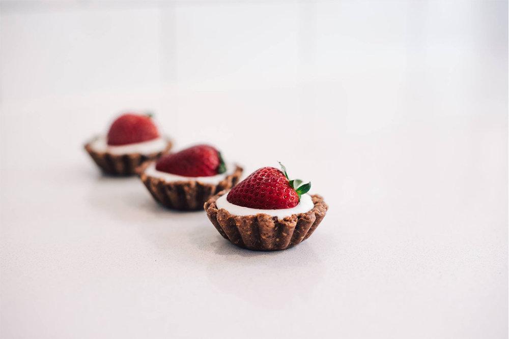 Chocolate peanut butter strawberry tart