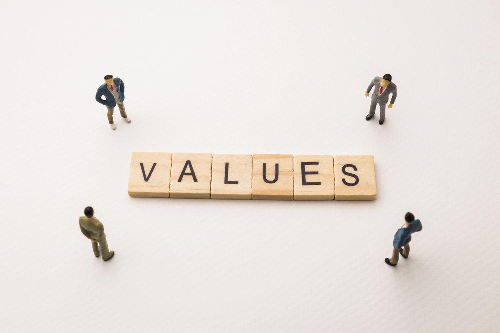 Miniature Figures Businessman : Meeting On Values Letters By Woo Miniature Figures Businessman : Meeting On Values Letters By Wooden Block Word On White Paper Backgr
