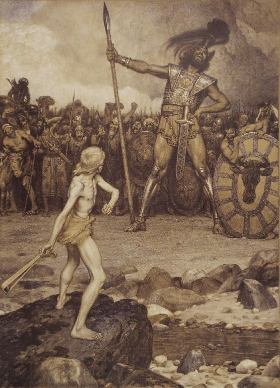 Osmar Schindler's lithograph 'David and Goliath'.