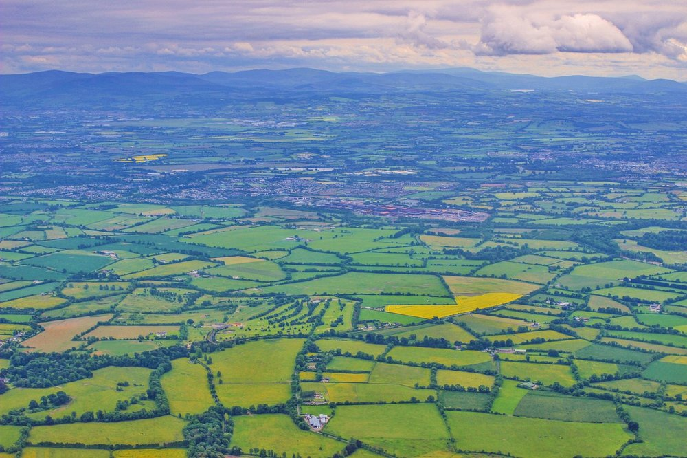 An aerial view of the Emerald Isle living up to its name.
