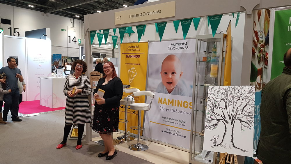 My colleagues  Felicity Harvest  (left) and  Lottie Holmes  at our beautiful stand.