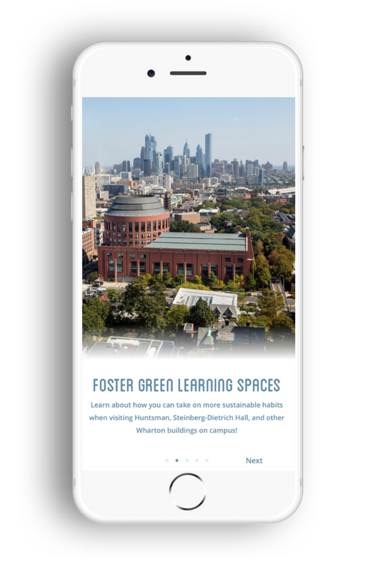Wharton New User Onboarding Screen: Foster Green Learning Spaces
