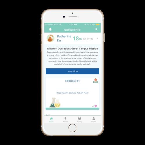 Wharton App Home Screen
