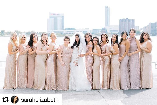 There's no denying blush pink & sequins are on wedding trend! ✨ . #Repost @sarahelizabeth with @get_repost ・・・ have you ever seen such a beautiful bridal party!? 😭💕 . . . #engagementseason #michiganwedding #weddingdetails #weddingday💍 #detroitweddings