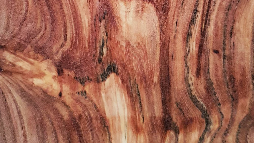 Spalted Elm - Incredibly beautiful. Best for display use, and not everyday, cutting and chopping, good cheese and finger board.