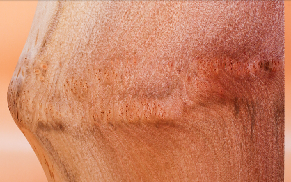 London PLane - Possibly the most interesting and multi-coloured wood we use with beautiful pinks and tiger like stripes in its grain. It is an all rounder as well and makes anything look good. Its only fault if it has one, is that it is more sensitive and prone to warp. It needs to be cared for and not exposed to temperature changes or being soaked.