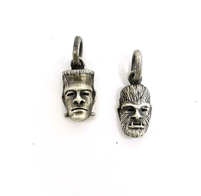 Monster pendants! Available in bronze or sterling silver! Keychain or necklace, HELL I could even do them as earrings! Message me for details! #gothjewelry #monstermash #frankenstein #wolfman #necklace #keychain #jewelry #oneofakind #madeindetroit #spooky #universalstudios