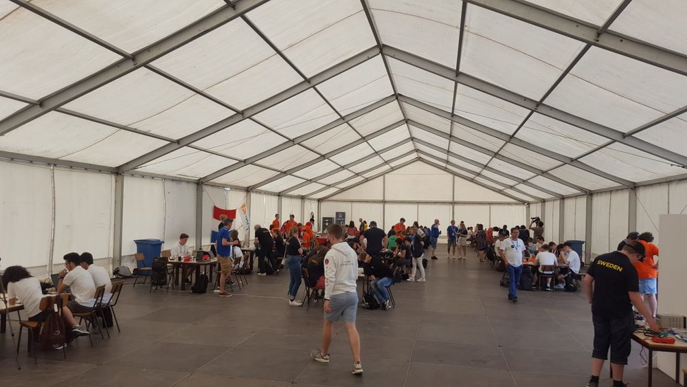 All teams were placed in one huge tent, which will function as the workspace for the teams.