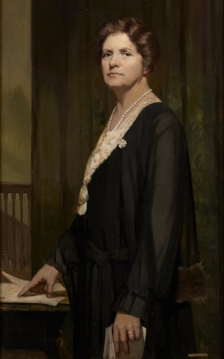Margaret Haig Thomas Viscountess Rhondda, oil on canvas by Alice Mary Burton © artists estate, image kindly given by the Parliamentary Art Collection WOA 7177
