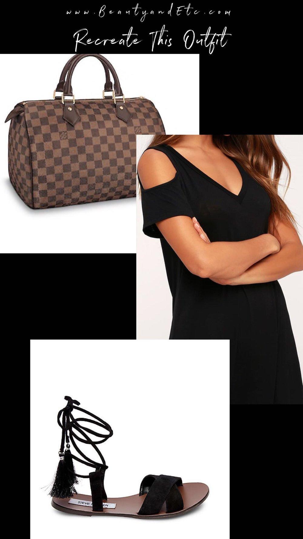 Handbag : Louis Vuitton Speedy 30 ( here )   Dress :  here    Shoes :  here